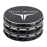 TITAN CRUSHER - Best Herb Grinder [Upgraded Version] II Large 4 Piece with Locking Tray II 76 Diamond Sharp Teeth II 4' L Black Anodized Aluminium