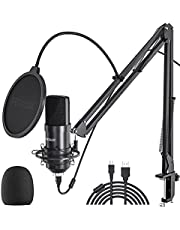 USB Microphone Streaming Podcast PC Microphone 2021 Mics, Peradix 192kHz/24Bit Professional Studio Cardioid Condenser Microphone Kit with Boom Arm, Pop Filter for Skype YouTube Karaoke Gaming Recording
