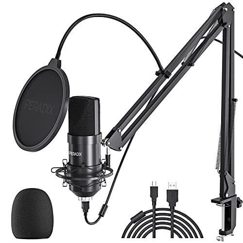 Peradix USB Kondensator Mikrofon für PC und Laptop, Studioaufnahme Mikrofon Kit mit Mikrofonständer, Stoßdämpferhalter, Windschutzscheibe, Popfilter, für Rundfunk, Aufnahme, Youtube