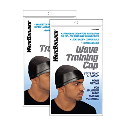 Wavebuilder Wave Training Cap, Black, 2 Pack