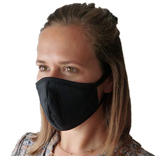 LIEVD Mundschutz Maske 100% Baumwolle Schwarz mit Filtertasche inklusive 10 Filter (3er Set)   Gesichtsmaske waschbar   Mund und Nasenschutz wiederverwendbar   Behelfsmaske 2-lagig