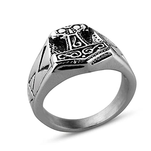 QLJYT Anillo de Vikingos, Acero Inoxidable Mjolnir Thor Hammer Raven Rings,12