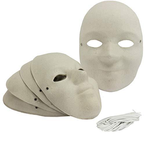 Maske Kinder / Jugendliche aus Pappe 6 Stück blanko Kindermasken robuste Pappe ca. 18,5 x 13 cm Karnevalsmasken Gesichtsmasken zum selber basteln Masken Maskenball Kostüm-Ball Fasching | 221400