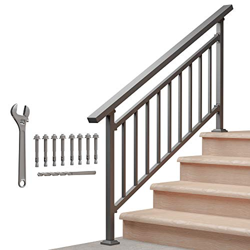 Outdoor Guard Rails for Steps, Black Wrought Iron Railing (4 Step)