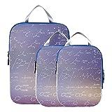 Cubos de embalaje Fórmula científica química comprimible Bolsas de almacenamiento de viaje para equipaje Cubos de embalaje expandibles Juego de viaje para equipaje de mano, viaje (juego de 3)