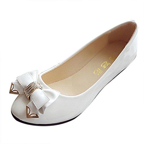 Culater Manoletinas Mujer Zapatos Pumps Cerrados Bailarina clásico Pajarita del talón del Plano (38, Blanco)