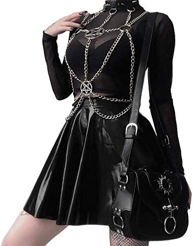 Gothic Spike Rivet Choker Punk Rock Long Chain Leather Collar Necklace Adjustable product image