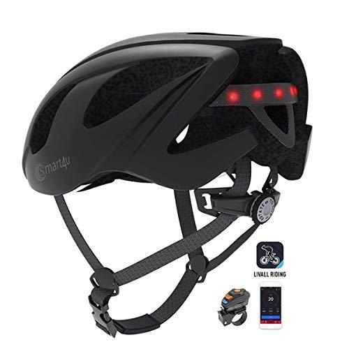 Casco de bicicleta inteligente Altavoz Bluetooth Cascos de bicicleta de carretera,Luces traseras con control remoto inalámbrico/Equipo de walkie-talkie/Música/Alerta SOS/Equipo de ciclismo,Negro