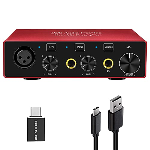 Audio Interface Audio Interface for PC USB Interface mixer recorder with 48V Phantom Power 24 Bit Support Table Mac OS PC Audio Equipments & Music Instruments (No DAW include)