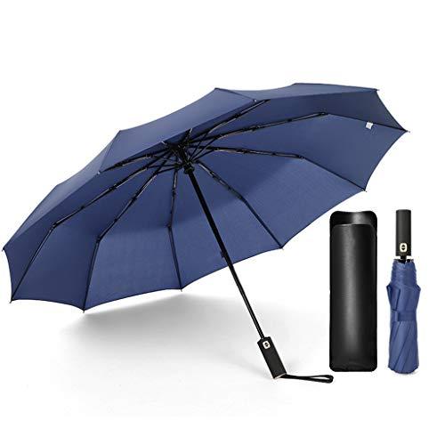 Cdoston Regenschirm Sturmfest Regenschirm Taschenschirm Regenschirm mit Auf-Zu-Automatik Schirm Windsicherer Wasserdicht Stabil mit Schutzhülle aus Kunstleder (Blau)