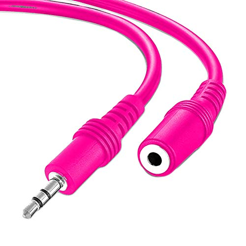 3.5mm Jack Male To Female Audio Stereo Extension Aux Cable 1m Headphone Jack Socket Speaker Wire Cord For Phones Tablets PCs MP3 Players Headset and More (Pink)