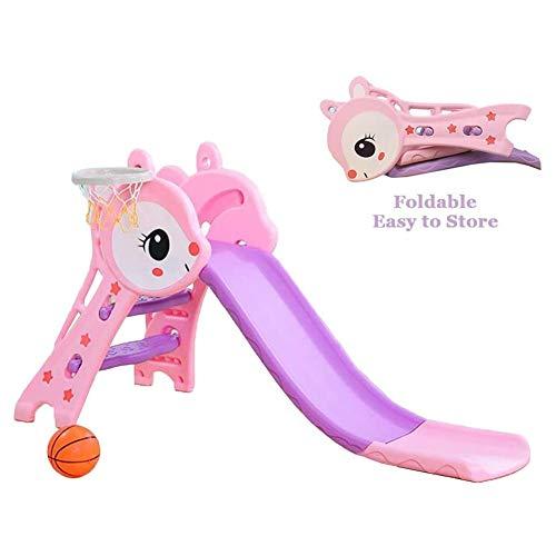 YQZ Kinder Faltbare Rutsche, Kinderspielzeug Basketball Indoor Outdoor Rutsche Garten Spielbereich, Geeignet für 1-6 Jahre altes Baby,Rosa