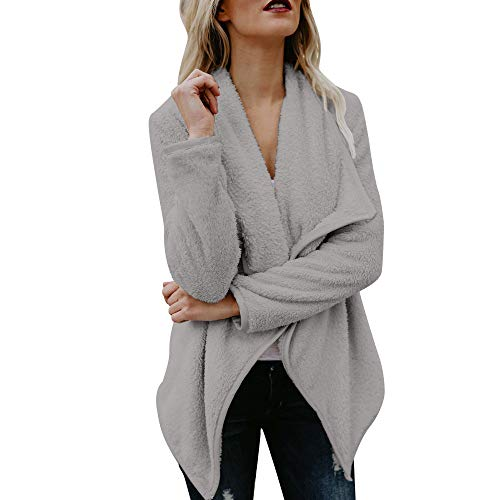 AMUSTER Damen Plüschjacke Winter Jacke Mantel Steppjacke Outwear Damen Mantel Plüsch Winter Stepp Warmen Outwear Cardigan Lange Ärmel Einfarbig Parka Strickjacken