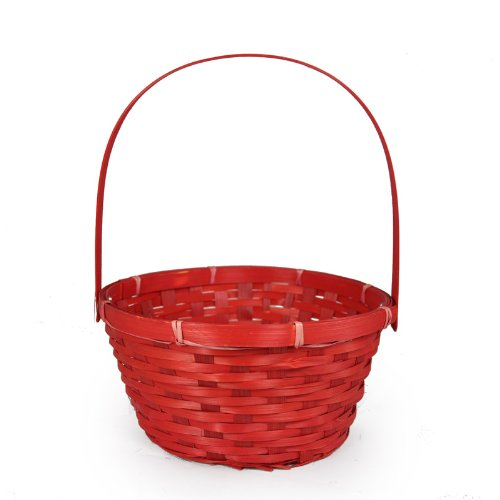 The Lucky Clover Trading Red Weave Round Handle Basket - Small