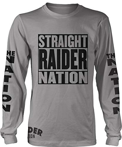 Straight Raider Nation Long Sleeve Grey T-Shirt (Large)