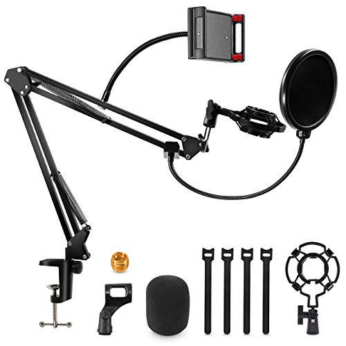 Gifort Pied de Micro de Bureau, Support de Microphone à Bras de Ciseaux Réglable avec Filtre Anti-Pop, Suspension Antichoc et Pince à Micro pour Blue Yéti et Autres Microphones