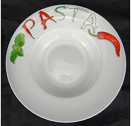 Preisvergleich für Pastateller Motiv 30cm rund Porzellan Teller Pasta Nudel Nudelteller