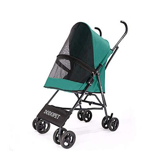 LIBWX Dog Strollers - Pet 4 Wheels Travel Stroller Dog Cat Pushchair Trolley Puppy Jogger Folding Carrier,Green
