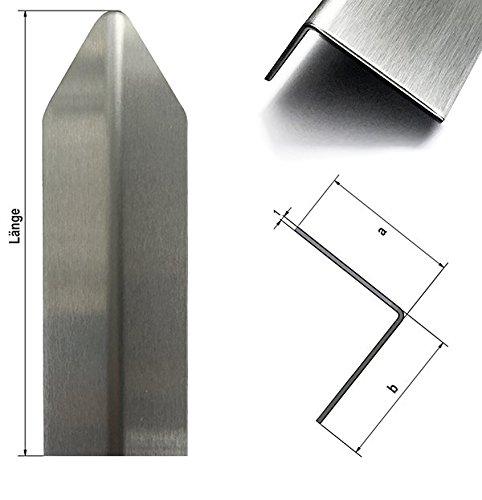 1 Edelstahl Eckschutzwinkel Modern axb=30x30mm1,0x1.000mm, Aussen Schliff Korn 320-1 fach gekantet