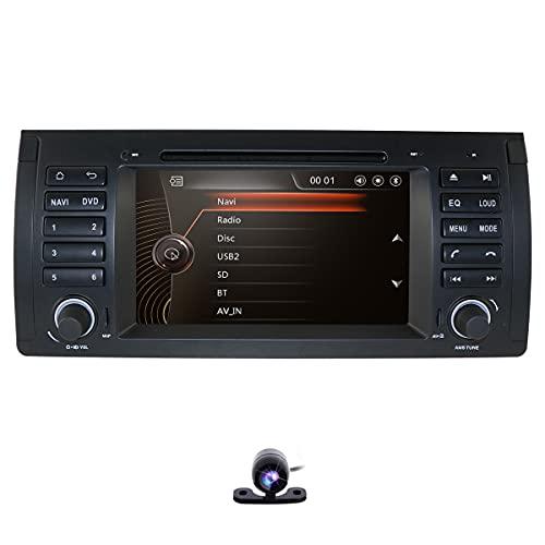 Estéreo de radio de automóvil con sistema de winques de pantalla táctil de 7 pulgadas y de cámara trasera para BMW 5 Series E39/X5 E53/M5, admite la navegación GPS SWC USB Bluetooth DVD RDS TF Card EQ