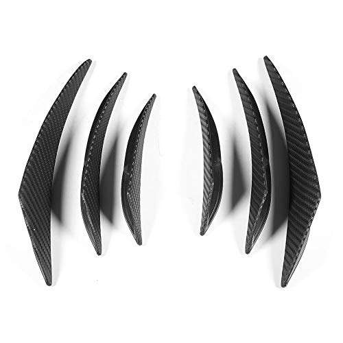 Qiilu 6 Piezas de Aleta de Parachoques de Coche Canard, Borde de Spoiler de Valencia difusor de Textura de Fibra de Carbono