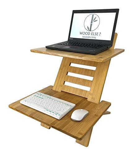 WOOD ELSE ? Standing Desktop Arbeitsstation höhenverstellbar - nachhaltiger Stehpultaufsatz aus Bambus