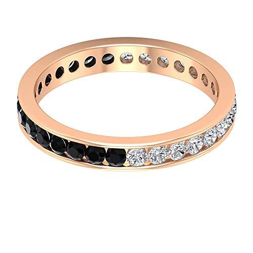 Anillo de oro de ónix negro de 1/2 ct con certificado de 2 mm, anillo de eternidad de novia de 1/2 ct, anillo único de piedra preciosa alterna, anillo de boda, 14K Oro rosa, Size:EU 54