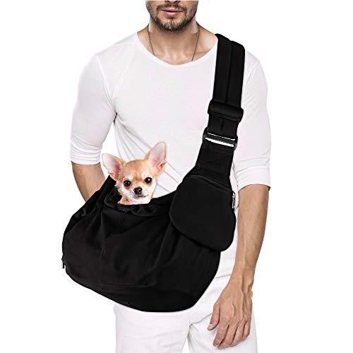 Lukovee Tragetuch Hund, Hand frei Tragetaschen für Hunde Welpe Tragetasche Katze Tragetücher Umhängetasche mit Boden Unterstützt Verstellbarer Schultergurt und Sicherheitsgurt für kleine Hunde