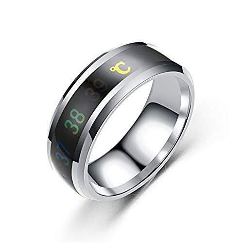 MISLD Temperatuur Monitor Ringen, Digitale Thermometer Body Temperatuur Sensor Smart Ringen Bruiloft Paar Liefhebbers Ringen, Geschikte Maat Titanium Staal Wave Ringen