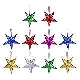 LIOOBO 10 piezas de papel con diseño de estrella en 3D con pentagrama para Navidad, bodas, fiestas, decoración para colgar en el hogar
