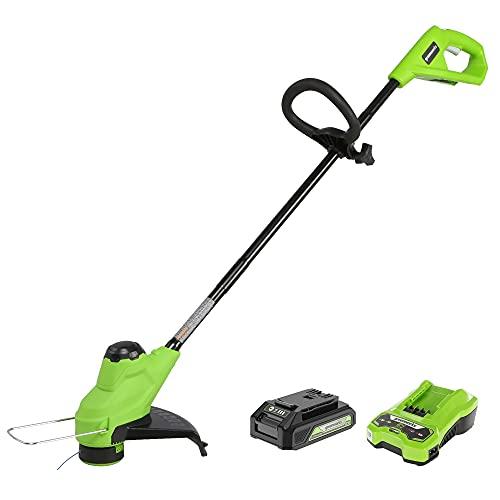 Greenworks Tools Débroussailleuses Electrique Tondeuse à Gazon à 25cm avec Batterie 2Ah et Chargeur Rapide (Alimentation en Filetage Automatique, Vague 3 pièces)