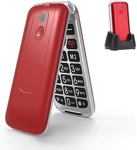 Uleway 3G Unlocked Flip Phone para idosos, 2,8 '' Dual SIM Card Big Button Senior Cell Phone com carregador e recurso de emergência SOS (vermelho)