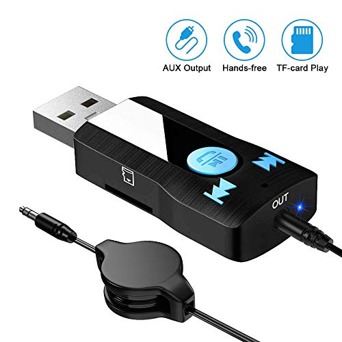 SONRU Bluetooth Ontvanger voor auto, Bluetooth Ontvanger AUX USB Hands Gratis Call Kit Ondersteuning TF-kaart Play, A2DP, Dual Link, 3.5mm Aux Output Audio Bluetooth Ontvanger voor Auto/Home Streaming Sound System