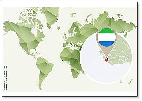 Kühlschrankmagnet Weltkarte mit Sierra Leone & Flagge