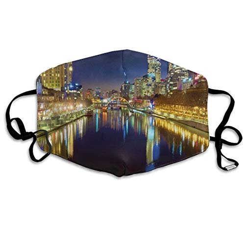 Face Anti-Dust Mask Men Women,Looking Down The Yarra River On A Beautiful Night in Melbourne Water Reflection,Washable and Reusable