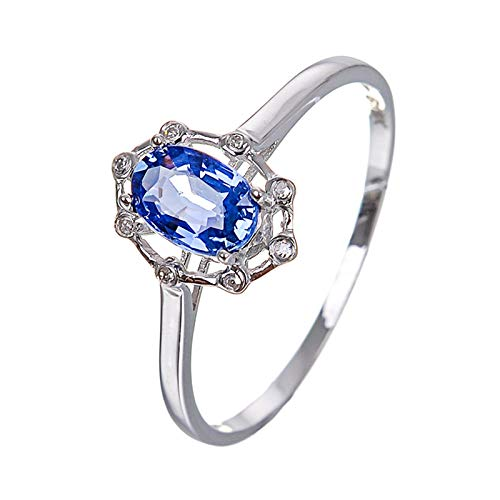 AueDsa Ring Silver Blue Womens Rings 18K White Gold Oval Hollow Ring Size O 1/2