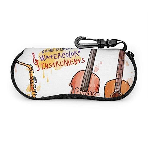 AOOEDM, instrumento musical, trompeta, saxofón, guitarra, pintura, estuche para anteojos portátil, resistente a la abrasión, estuche protector, estuche para gafas de sol suave con mosquetón para la e