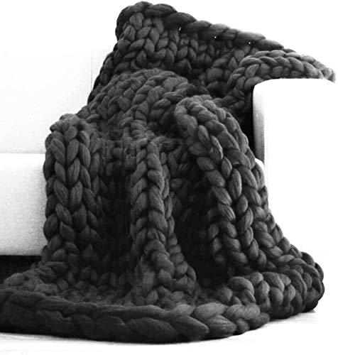 WGL manta, hecha a mano de punto, manta de punto acrílico, cable de punto, para sofá/cama/sofá/banco de granja, suave, voluminoso, boho, decoración del hogar, regalo (gris oscuro, 200 x 200 cm)
