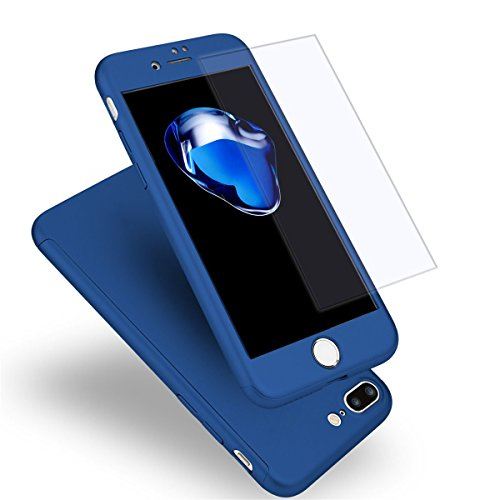 Funda iPhone 7 Plus 360 Grados Integral para Ambas Caras + Protector de Pantalla de Vidrio Templado,[ 360 ° ] [ Azul ] Case/Cover/Carcasa iPhone 7 Plus (iPhone 7 Plus 5.5inch, Azul)