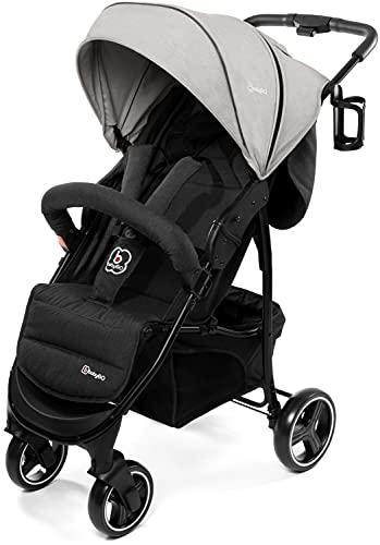 babyGO Basket Kinderwagen - Buggy - Kombikinderwagen - Einfaches zusammenklappen - mit Praktischer Tasche und Flaschenhalter (Hellgrau Melange-ohne Babyschale)