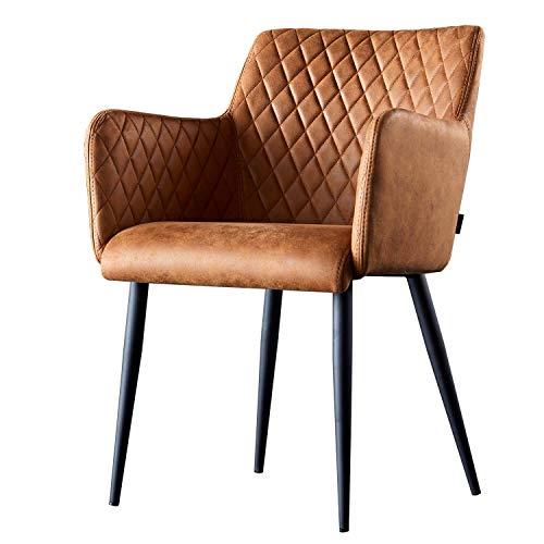 Damiware Rose Stuhl | Design Wohnzimmerstuhl Esszimmerstuhle Bürostuhl mit Stoffbezug | (Cognac)