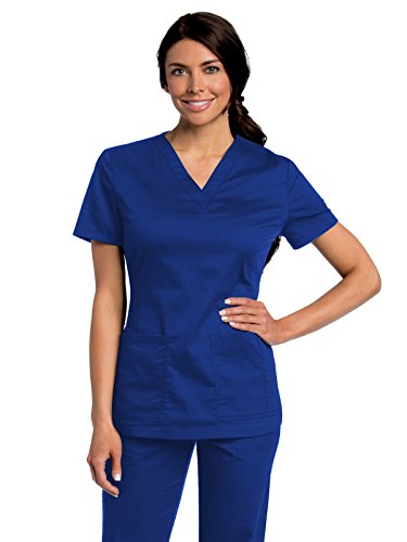 Landau All Day Women's Modern Fit Y-Neck Scrub Tunic Galaxy S