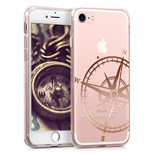 kwmobile Hülle kompatibel mit Apple iPhone 7/8 / SE (2020) - Handyhülle - Handy Case Kompass Vintage Rosegold Transparent