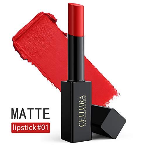 Lippenstifte, klassische rote matte Lippenstifte langanhaltend feuchtigkeitsspendend für nacktes Make-up, CEITURA # 001, 1 Tube