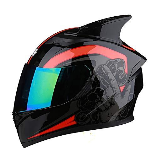 L.L.QYL Motorradhelm Motorrad Persönlichkeit Cool Universal Integralhelm Bunte Doppelobjektiv Elektroauto Helm 54-65cm Motocross-Helm (Size : L)