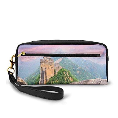 Pencil Case Pen Bag Pouch Stationary,Fantasy Sky on Cultural Architecture Section Surrounded by Grassland Print,Small Makeup Bag Coin Purse