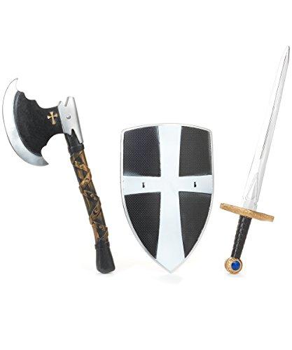 KULTFAKTOR GmbH Ritter Kinder Kostüm Set Schwert Schild schwarz-Silber Einheitsgröße