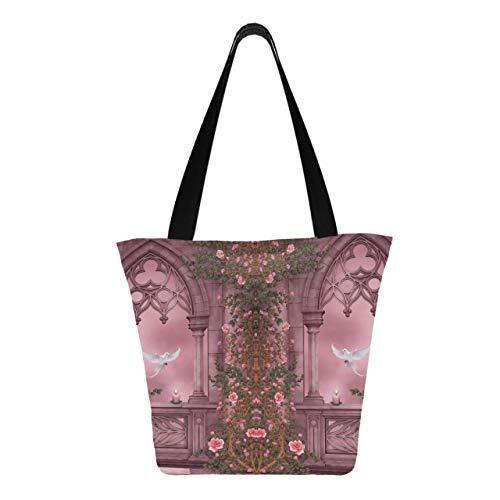 Fantasy Artistic Arch Rose Pink Vine Dove Kerze 11 × 7 × 13 Zoll maschinenwaschbare robuste Polyester wiederverwendbare Einkaufstüte Faltbare wiederverwendbare Handtasche zum Einkaufen
