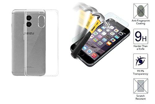 Compatible con Meizu M6 Note M721H pantalla 5.5 Funda carcasa carcasa de gel suave slim silicona TPU suave protección transparente + película de vidrio templado antigolpes antiarañazos 9H