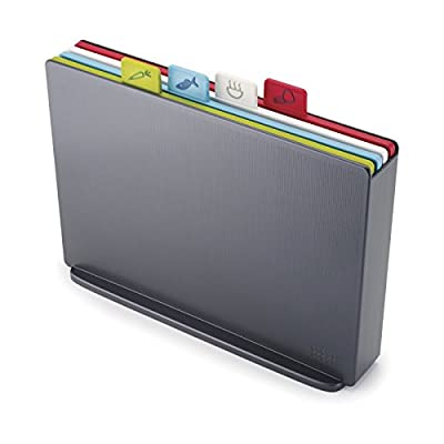 Joseph Joseph Index Plastic Cutting Board Set with Storage Case Color-Coded Dishwasher-Safe Non-Slip, Large, Graphite from Joseph Joseph